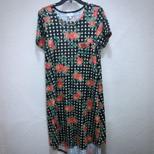 Lularoe Carly shirtdress with rose print